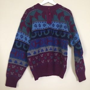 Vintage Wool Equestrian Horse Pullover Sweater